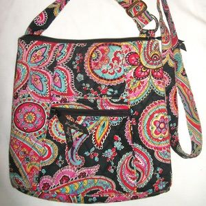 Paisley Vera Bradley Shoulder Bag Purse Pink Black